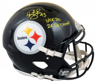 """Troy Polamalu Signed Steelers Full-Size Authentic On-Field Speed Helmet Inscribed """"HOF 20"""" & """"2X SB Champ"""" (Beckett Hologram) at PristineAuction.com"""