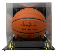 """Jerry West Signed NBA Silver Series Basketball with Display Case Inscribed """"HOF 1980, 2010"""" (PSA COA) at PristineAuction.com"""