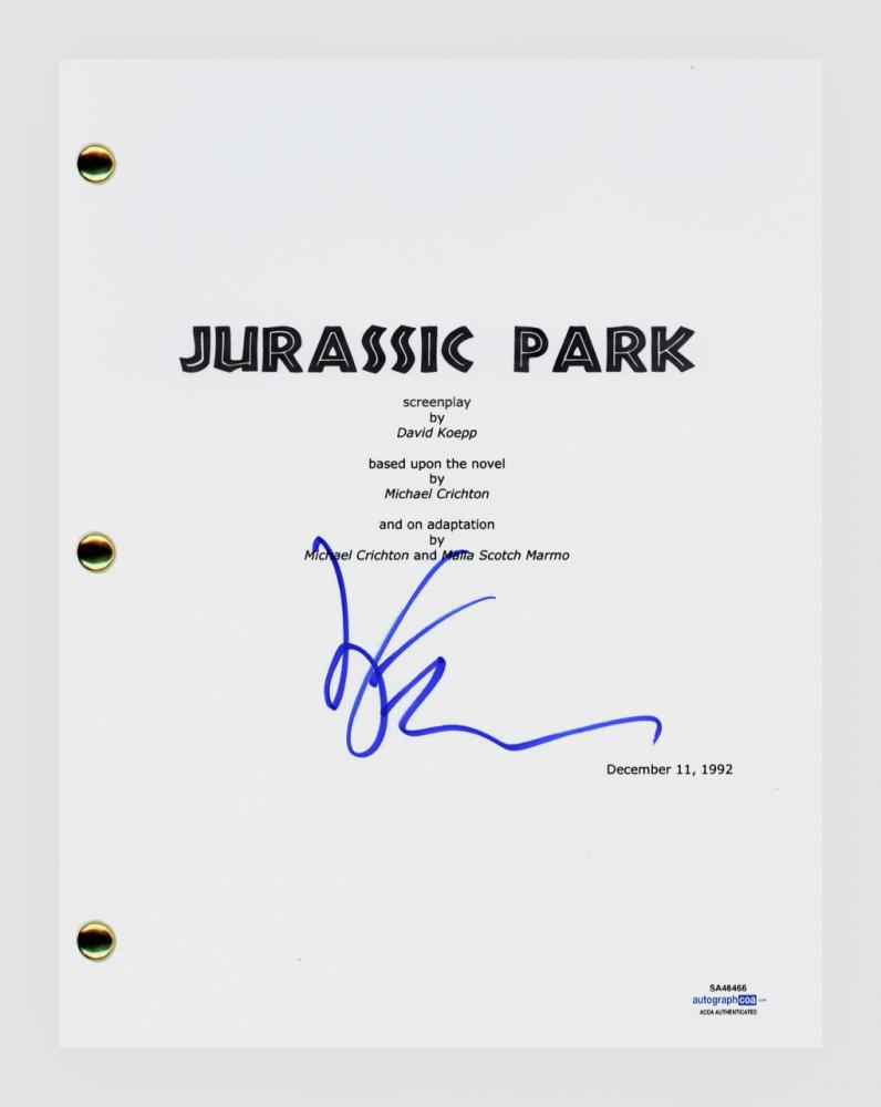 "Jeff Goldblum Signed ""Jurassic Park"" Movie Script (AutographCOA COA) at PristineAuction.com"