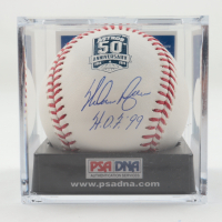 """Nolan Ryan Signed OML Astros 50th Anniversary Baseball Inscribed """"H.O.F. '99"""" with Display Case (PSA COA - Graded 10) at PristineAuction.com"""