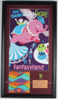 Vintage Disneyland Dumbo the Flying Elephant Carousel Ride 15x26 Custom Framed Print Display with 'B' Ticket, Retired Brass Pin & Souvenir Bag at PristineAuction.com