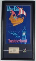 Vintage Disneyland Peter Pan's Flight 15x26 Custom Framed Print Display with 'C' Ticket & Ride Pin at PristineAuction.com