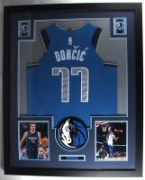 Luka Doncic Signed Mavericks 35.5x43.5 Custom Framed Jersey Display (PSA Hologram) (See Description) at PristineAuction.com