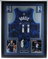 Luka Doncic Signed Mavericks 35.5x43.5 Custom Framed Jersey Display (JSA Hologram) at PristineAuction.com