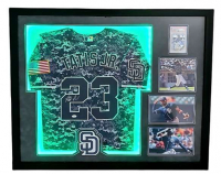 Fernando Tatis Jr. Signed Padres 34x43 Custom Framed LED-Backlit Jersey Display with 2019 Bowman Prospects Chrome #25 (PSA 9)  (JSA Hologram) at PristineAuction.com