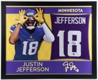 Justin Jefferson Signed 35x43 Custom Framed Jersey (Beckett Hologram) at PristineAuction.com