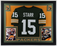 Bart Starr 35x43 Custom Framed Jersey Display at PristineAuction.com
