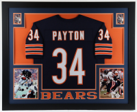 Walter Payton 35x43 Custom Framed Jersey Display at PristineAuction.com
