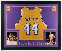 Jerry West Signed 35x43 Custom Framed Jersey Display (Beckett COA) at PristineAuction.com