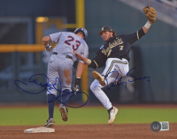 Dansby Swanson & Derek Fisher Signed 8x10 Photo (Beckett COA) at PristineAuction.com