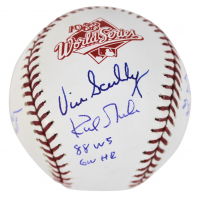 1988 World Series Logo Baseball Signed by (4) with Vin Scully, Tommy Lasorda, Orel Hershiser & Kirk Gibson with Multiple Inscriptions (Beckett COA) at PristineAuction.com