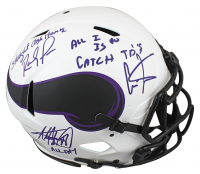 """Randy Moss, Cris Carter & Adrian Peterson Signed Vikings Full-Size Authentic On-Field Lunar Eclipse Alternate Speed Helmet Inscribed """"Straight Cash Homie"""", """"All Day"""" & """"All I Do is Catch TD's"""" (Beckett Hologram) at PristineAuction.com"""