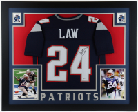 """Ty Law Signed 35x43 Custom Framed Jersey Display Inscribed """"HOF 19"""" (Beckett COA) at PristineAuction.com"""