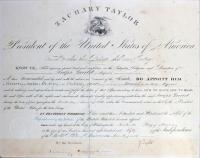 Zachary Taylor Signed 12.5x16 Custom Framed Document (Beckett LOA) at PristineAuction.com