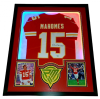 Patrick Mahomes Signed Chiefs 34x42 Custom Framed Jersey Display with LED Lights (Fanatics Hologram) at PristineAuction.com
