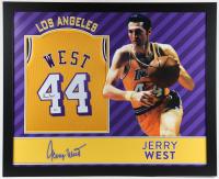 Jerry West Signed 35x43 Custom Framed Jersey (Beckett Hologram) at PristineAuction.com