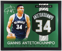 Giannis Antetokounmpo Signed 35x43 Custom Framed Jersey (JSA COA) at PristineAuction.com
