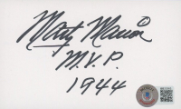 """Marty Marion Signed 3x5 Index Card Inscribed """"M.V.P. 1944"""" (Beckett COA) at PristineAuction.com"""