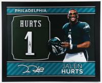 Jalen Hurts Signed 35x43 Custom Framed Jersey (PSA Hologram) at PristineAuction.com