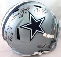 """Roger Staubach, Tony Dorsett & Drew Pearson Signed Cowboys Full-Size Speed Helmet Inscribed """"HOF 85"""", """"HOF 94"""" & """"HOF 21"""" (Beckett Hologram) at PristineAuction.com"""