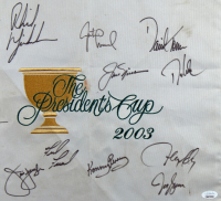 2003 The President's Cup Pin Flag 23.5x27.5 Custom Framed Display has been hand-signed by (14) with Jack Nicklaus, Phil Mickelson, Tiger Woods, Jim Furyk (JSA LOA) at PristineAuction.com