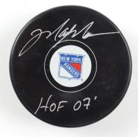 "Mark Messier Signed Rangers Logo Hockey Puck Inscribed ""HOF 07"" (Schwartz COA) at PristineAuction.com"