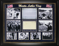 "Martin Luther King Jr. Signed 34x43 Custom Framed Envelope Display Inscribed ""Best Wishes"" (PSA LOA) at PristineAuction.com"