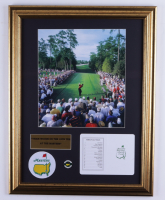 2005 Masters 17x22 Custom Framed Photo Display with Official Augusta National Scorecard and 2005 Masters Champion Pin at PristineAuction.com