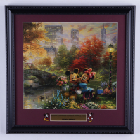 """Thomas Kinkade """"Mickey & Minnie In Central Park"""" 16x16 Custom Framed Print Display with Mickey & Minnie Mouse Pin Set at PristineAuction.com"""