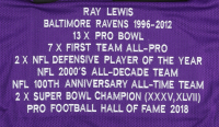 Ray Lewis Signed Career Highlight Stat Jersey (Beckett Hologram) at PristineAuction.com