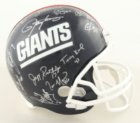 Giants SB XXI & XXV Team Signed T hrowback Full-Size Helmet Signed by (27) with Phil Simms, Lawrence Taylor, Jeff Hostetler, Ottis Anderson (Schwartz Sports COA) at PristineAuction.com