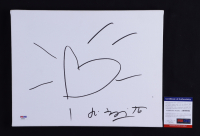 Romero Britto Signed 11x14 Canvas with Hand-Drawn Sketch (PSA COA) at PristineAuction.com