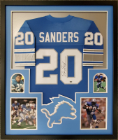 Barry Sanders Signed Detroit Lions 34x42 Custom Framed Authentic Jersey Display (Schwartz Sports COA) at PristineAuction.com