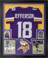 Justin Jefferson Signed 34x42 Custom Framed Jersey Display (Beckett COA) at PristineAuction.com