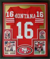 Joe Montana Signed 34x42 Custom Framed Jersey Display (JSA COA) at PristineAuction.com