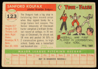 Sandy Koufax 1955 Topps #123 RC at PristineAuction.com