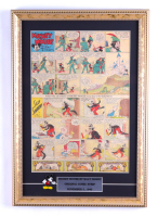 1940 Walt Disney Mickey Mouse 14x120 Custom Framed Original Comic Strip Display with Mickey Mouse Pin at PristineAuction.com