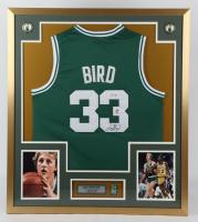 Larry Bird Signed Celtics 32x36 Custom Framed Jersey Display (PSA COA & Bird Hologram) at PristineAuction.com