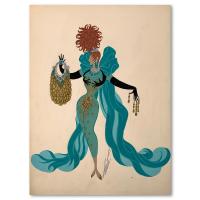 """Erte Signed """"Jeu d'enfer, mannequin"""" 10x14 Original Gauche Painting at PristineAuction.com"""