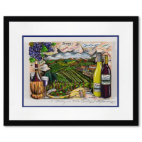 """Charles Fazzino Signed """"A Tasting in Wine Country"""" 3D Limited Edition 21x17 Custom Framed Silk Screen, DX #170/250 at PristineAuction.com"""