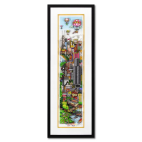 """Charles Fazzino Signed """"A Deep Dish Pie in Chi Town"""" 3D Limited Edition 13x37 Custom Framed Silk Screen #22/150 at PristineAuction.com"""