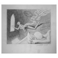 """Mark Kostabi Signed """"Savoring The Dream"""" 10x12 Original Artwork at PristineAuction.com"""