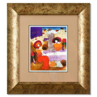 Moshe Leider Signed 17x18 Custom Framed Original Mixed Media Watercolor Painting at PristineAuction.com