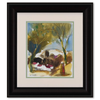Moshe Leider Signed 14x16 Custom Framed Original Mixed Media Watercolor Painting at PristineAuction.com