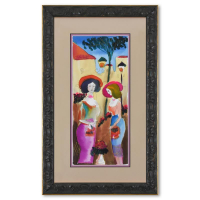 Moshe Leider Signed 15x24 Custom Framed Original Mixed Media Watercolor Painting at PristineAuction.com