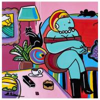 "Rina Maimon Signed ""Espresso Cat "" 24x24 Original Acrylic Painting on Canvas at PristineAuction.com"