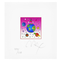 """Peter Max Signed """"Cosmic Runner with Planets"""" Limited Edition 19x18 Custom Framed Lithograph #494/500 at PristineAuction.com"""
