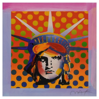 """Peter Max Signed """"Liberty Head XI"""" Limited Edition 23x23 Custom Framed Lithograph #691/700 at PristineAuction.com"""
