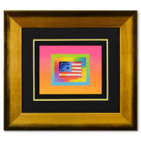 """Peter Max Signed """"Flag with Heart on Blends"""" Limited Edition 27x24 Custom Framed Lithograph #498/500 at PristineAuction.com"""