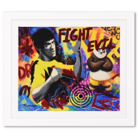 """Nastya Rovenskaya Signed """"Bruce Lee and Kung Fu Panda"""" is the Answer"""" 30x27 Custom Framed One-of-a-Kind Mixed Media at PristineAuction.com"""